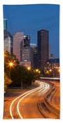 Memorial Drive And Houston Skyline Beach Towel