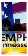 Memphis Tn Patriotic Large Cityscape Beach Towel