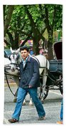 Men And Carriages In A Street Near Saint Sophia's In Istanbul-turkey Beach Towel