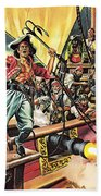 Men Of The Jolly Roger Beach Towel by Ron Embleton