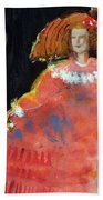 Menina And Cathedral Oil & Acrylic On Canvas Beach Towel