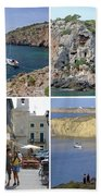 Menorca Collage 02 - Labelled Beach Towel