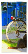 Meow Cat In Verdun Waiting By The Step Beautiful Summer Montreal Pet Lovers City Scene C Spandau Beach Towel