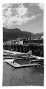 Merchants Wharf In Black And White Beach Towel