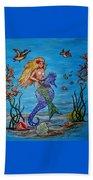 Mermaid And Seahorse Morning Swim Beach Towel