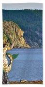 Mermaid On A Dock In Twillingate Harbour-nl Beach Towel