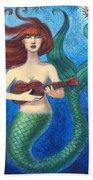 Mermaid Ukulele Angels Beach Towel