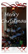 Merry Christmas - Greeting Card - Christmas Tree - Ribbons Beach Towel