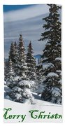 Merry Christmas - Winter Trees And Rising Clouds Beach Towel
