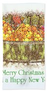 Merry Christmas And A Happy New Year - Fruit And Flowers In The Snow - Holiday And Christmas Card Beach Towel