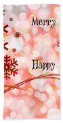 Merry Christmas And Happy New Year Beach Towel