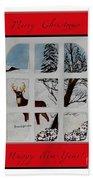Merry Christmas Deer Beach Towel