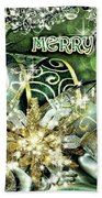 Merry Christmas Green Beach Towel by Mo T