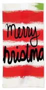 Merry Christmas- Greeting Card Beach Towel