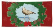 Merry Christmas Greeting Card - Young Seagull Beach Towel