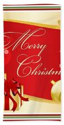 Merry Christmas Greeting With Gifts Bows And Ornaments Beach Towel