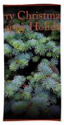 Merry Christmas And Happy Holiday - Blue Pine Holiday And Christmas Card Beach Towel