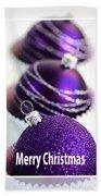 Merry Christmas Purple Baubles Beach Towel