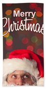 Merry Christmas Santa Card Beach Towel