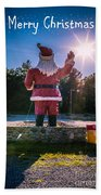 Merry Christmas Santa Claus Greeting Card Beach Towel