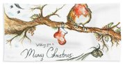 Merry Christmas Robin Beach Towel