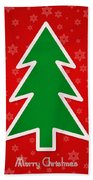 Merry Christmas Tree With Snowflake Background  Beach Towel
