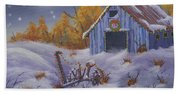 Merry Christmas You Old Barn And Farm Implement Beach Towel