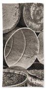Metal Barrels 2bw Beach Towel