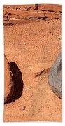 Metates At Wupatki Pueblo In Wupatki National Monument Beach Towel