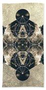 Metatron's Cube Silver Beach Towel by Filippo B