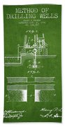 Method Of Drilling Wells Patent From 1906 - Green Beach Towel