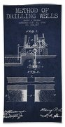 Method Of Drilling Wells Patent From 1906 - Navy Blue Beach Towel