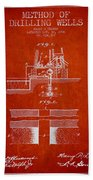 Method Of Drilling Wells Patent From 1906 - Red Beach Towel