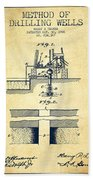 Method Of Drilling Wells Patent From 1906 - Vintage Beach Towel