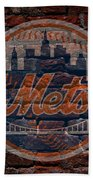 Mets Baseball Graffiti On Brick  Beach Towel by Movie Poster Prints