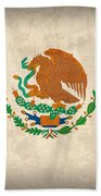 Mexico Flag Vintage Distressed Finish Beach Towel