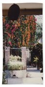 Mexico Garden Patio By Tom Ray Beach Towel