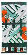 Miami Dolphins Football Recycled License Plate Art Beach Towel by Design Turnpike