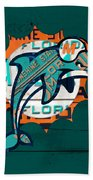Miami Dolphins Football Team Retro Logo Florida License Plate Art Beach Towel