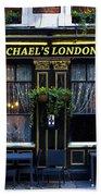 Michael's London Pub Beach Towel by David Pyatt