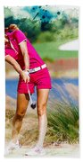Michelle Wie Plays A Shot On The 6th Hole Beach Towel