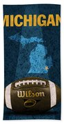 Michigan Football Poster Beach Towel