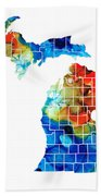 Michigan State Map - Counties By Sharon Cummings Beach Towel