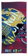 Michigan Wolverines College Football Helmet Vintage License Plate Art Beach Sheet