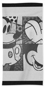 Mickey In Black And White Beach Towel