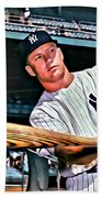 Mickey Mantle Painting Beach Towel