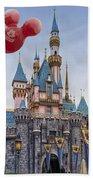 Mickey Mouse Balloon At Disneyland Beach Towel