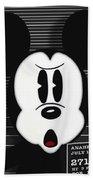 Mickey Mouse Disney Mug Shot Beach Towel by Tony Rubino
