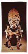 Mictlantecuhtli Lord Of Mictlan Remojadas Style, From Los Cerros, Tierra Blanca, Vera Cruz Pottery Beach Sheet