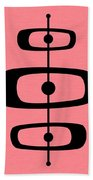 Mid Century Shapes 2 On Pink Beach Towel